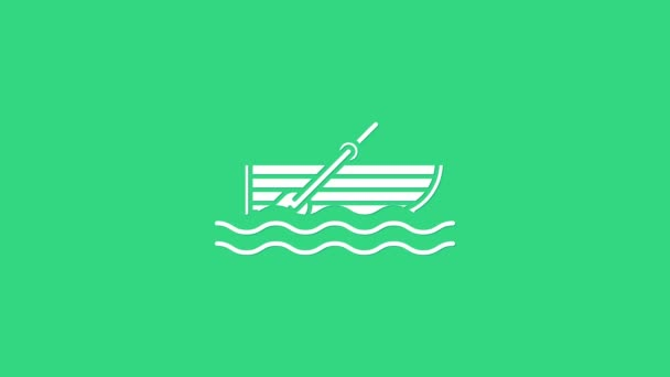 White Fishing boat with oars on water icon isolated on green background. 4K Video motion graphic animation