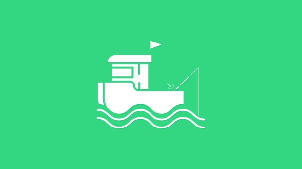 White Fishing boat with fishing rod on water icon isolated on green background. 4K Video motion graphic animation