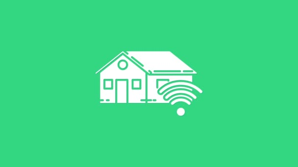 White Smart home with wi-fi icon isolated on green background. Remote control. 4K Video motion graphic animation