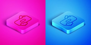 Isometric line Bar of soap icon isolated on pink and blue background. Soap bar with bubbles. Square button. Vector Illustration. icon