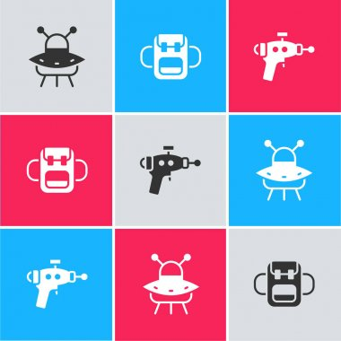 Set UFO flying spaceship, School backpack and Ray gun icon. Vector. icon