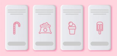 Set line Christmas candy cane, Bag of flour, Ice cream and . White rectangle button. Vector. icon