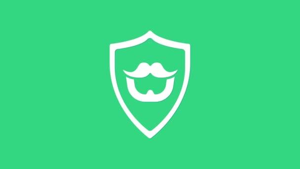 Fehér bajusz és szakáll pajzs ikon elszigetelt zöld alapon. Borbélyüzlet szimbólum. Arcszőrzet. 4K Videó mozgás grafikus animáció