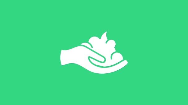 Fehér borotválkozás zselé hab a kézi ikon elszigetelt zöld alapon. Borotvahab. 4K Videó mozgás grafikus animáció