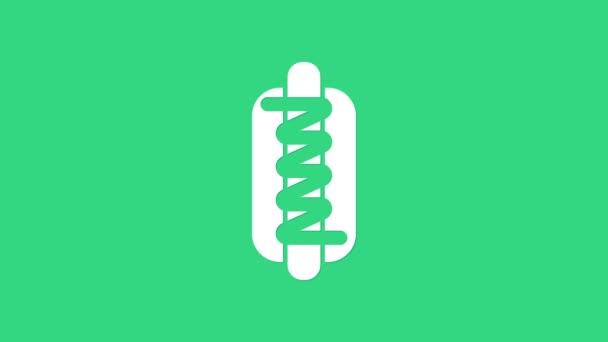 Bílý sendvič s ikonou hořčice izolované na zeleném pozadí. Ikona klobásy. Znamení rychlého občerstvení. Grafická animace pohybu videa 4K