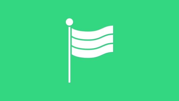 Fehér Nemzeti Németország zászló ikon elszigetelt zöld alapon. 4K Videó mozgás grafikus animáció