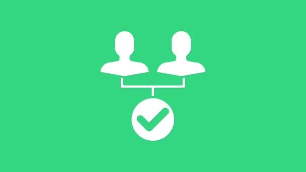 Ikona základny týmu Bílého projektu izolovaná na zeleném pozadí. Obchodní analýza a plánování, poradenství, týmová práce, projektové řízení. Grafická animace pohybu videa 4K