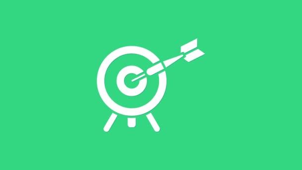 Weiße Target mit Pfeil-Symbol isoliert auf grünem Hintergrund. Hinweisschild. Bogenschießen Ikone. Dartscheibe. Geschäftszielkonzept. 4K Video Motion Grafik Animation