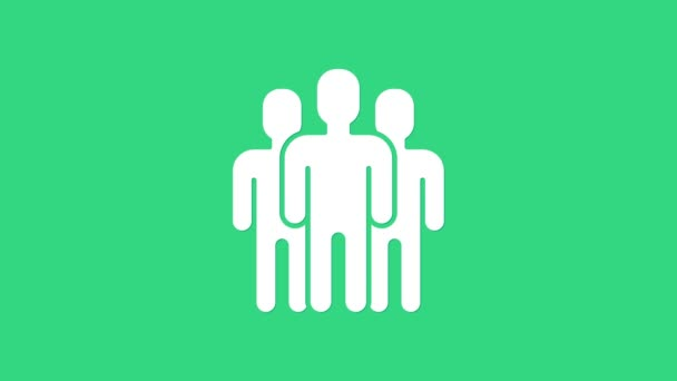 White Users group icon isolated on green background. Group of people icon. Business avatar symbol users profile icon. 4K Video motion graphic animation