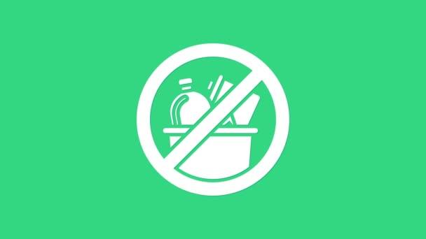 Weiß Kein Mülleimer-Symbol auf grünem Hintergrund. 4K Video Motion Grafik Animation