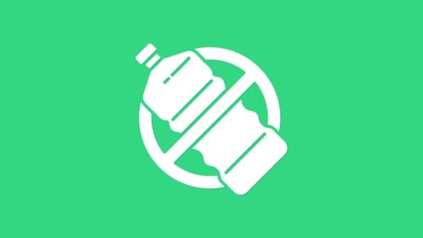 Weiß Keine Plastikflasche Symbol isoliert auf grünem Hintergrund. 4K Video Motion Grafik Animation