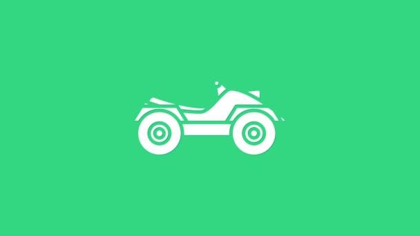 White All Terrain Vozidlo nebo ATV motocykl ikona izolované na zeleném pozadí. Čtyřkolka. Extrémní sport. Grafická animace pohybu videa 4K