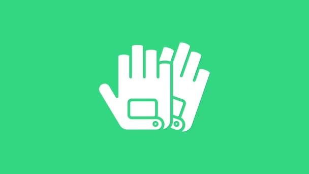Fehér kesztyű ikon elszigetelt zöld alapon. Extrém sport. Sportfelszerelés. 4K Videó mozgás grafikus animáció