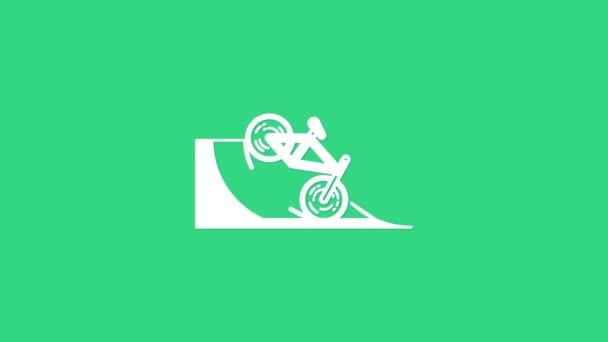 Bílé kolo na ulici rampa ikona izolované na zeleném pozadí. Skate park. Extrémní sport. Sportovní vybavení. Grafická animace pohybu videa 4K