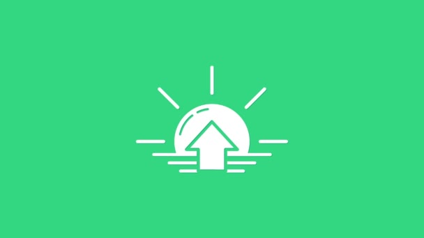 White Sunrise icon isolated on green background. 4K Video motion graphic animation