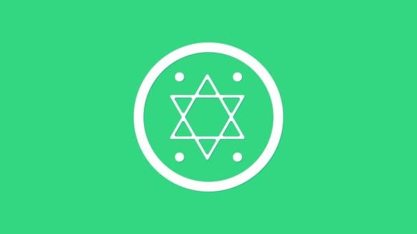 Fehér zsidó érme ikon elszigetelt zöld háttérrel. Pénznem szimbólum. 4K Videó mozgás grafikus animáció