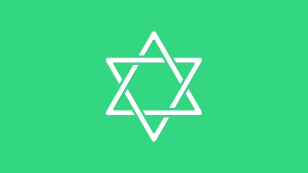 White Star of David icon isolated on green background. Jewish religion symbol. Symbol of Israel. 4K Video motion graphic animation