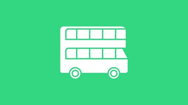 White Double decker bus icon isolated on green background. London classic passenger bus. Public transportation symbol. 4K Video motion graphic animation