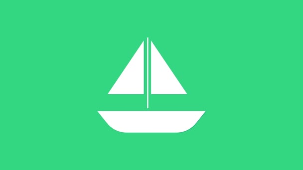White Yacht sailboat or sailing ship icon isolated on green background. Sail boat marine cruise travel. 4K Video motion graphic animation