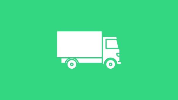 Weiße Lieferung Lastkraftwagen Symbol isoliert auf grünem Hintergrund. 4K Video Motion Grafik Animation