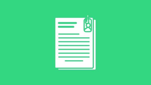 Fehér fájl dokumentum és gemkapocs ikon elszigetelt zöld alapon. Ellenőrző lista ikon. Üzleti koncepció. 4K Videó mozgás grafikus animáció