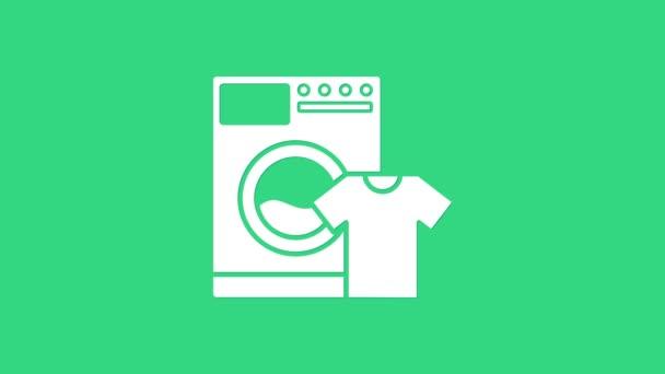 White Washer und T-Shirt-Symbol isoliert auf grünem Hintergrund. Waschmaschinensymbol. Wäscheservice, Waschmaschine. Haushaltsgerätesymbol. 4K Video Motion Grafik Animation