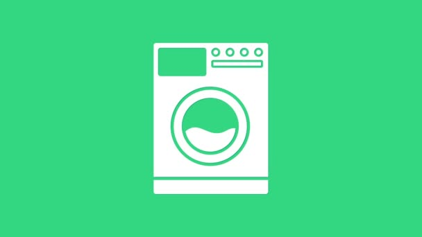 White Washer Symbol isoliert auf grünem Hintergrund. Waschmaschinensymbol. Kleiderwaschmaschine - Waschmaschine. Haushaltsgerätesymbol. 4K Video Motion Grafik Animation