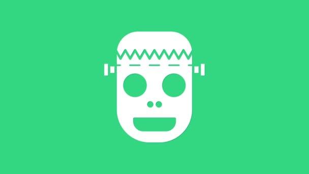 Fehér Zombi maszk ikon elszigetelt zöld alapon. Boldog Halloween partit! 4K Videó mozgás grafikus animáció