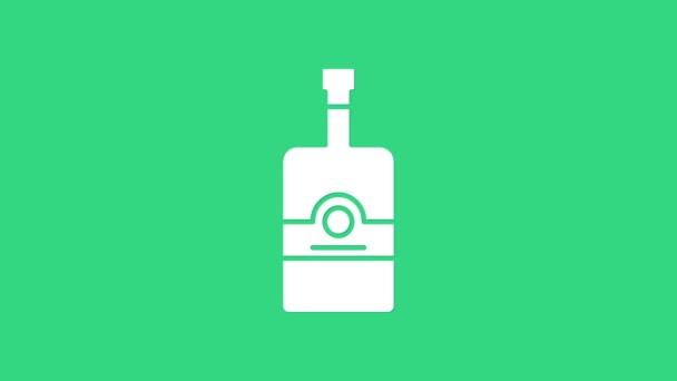 Fehér Whiskey palack ikon elszigetelt zöld alapon. 4K Videó mozgás grafikus animáció