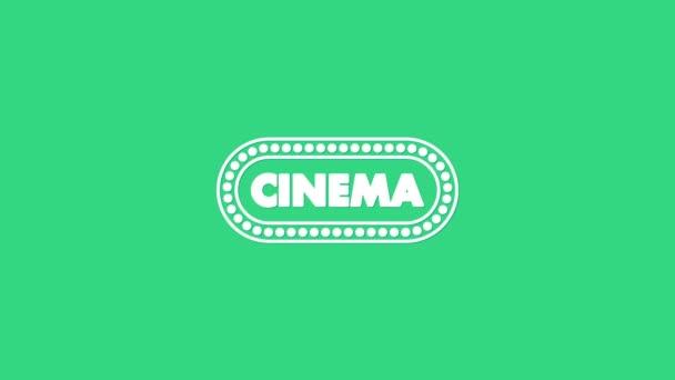 White Cinema Poster Design Template Symbol isoliert auf grünem Hintergrund. Filmzeit-Konzept Banner-Design. 4K Video Motion Grafik Animation