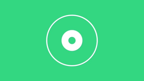 White CD or DVD disk icon isolated on green background. Compact disc sign. 4K Video motion graphic animation