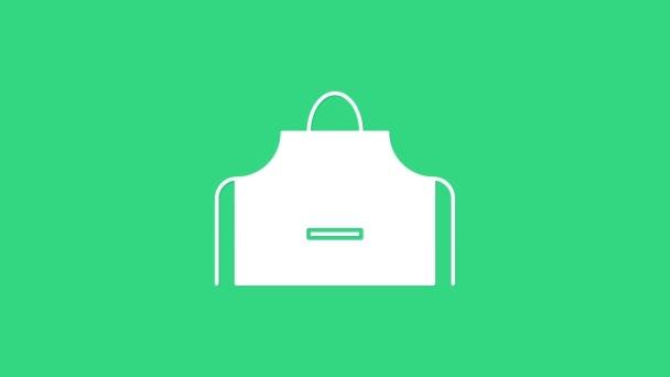 Weiße Küchenschürze Symbol isoliert auf grünem Hintergrund. Koch-Uniform zum Kochen. 4K Video Motion Grafik Animation