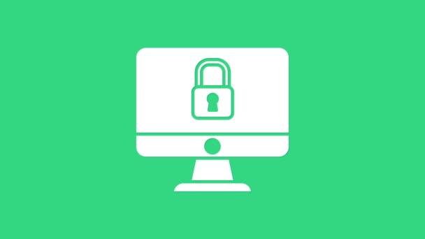 White Lock na obrazovce monitoru počítače izolované na zeleném pozadí. Bezpečnost, bezpečnost, koncepce ochrany. Bezpečná mezisíť. Grafická animace pohybu videa 4K