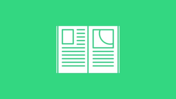 White Open book icon isolated on green background. 4K Video motion graphic animation