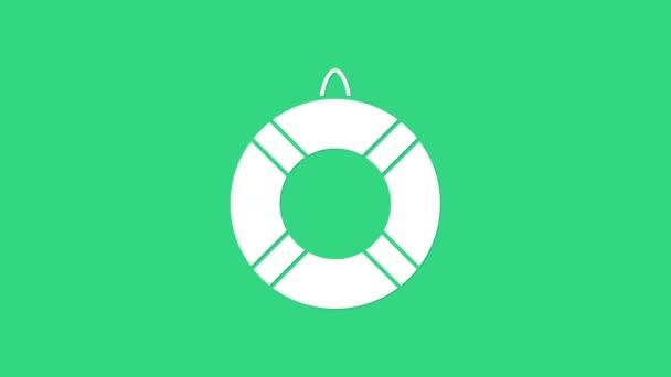 Weißes Rettungsring-Symbol isoliert auf grünem Hintergrund. Rettungsring-Symbol. 4K Video Motion Grafik Animation