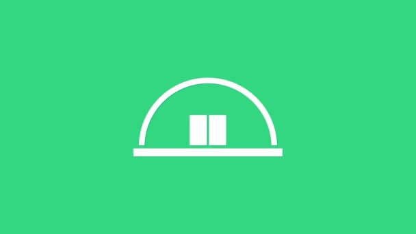 White Hangar icon isolated on green background. 4K Video motion graphic animation