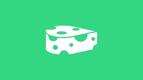 Ikona Bílý sýr izolované na zeleném pozadí. Grafická animace pohybu videa 4K