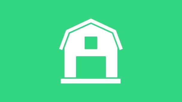 Fehér Farm House koncepció ikon elszigetelt zöld alapon. Rusztikus tájkép. 4K Videó mozgás grafikus animáció