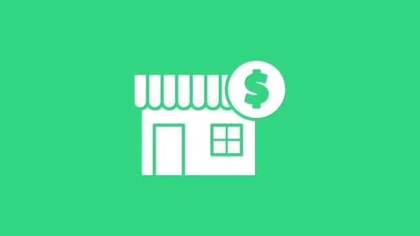 Weißes Haus mit Dollarsymbol auf grünem Hintergrund. Heimat und Geld. Immobilienkonzept. 4K Video Motion Grafik Animation