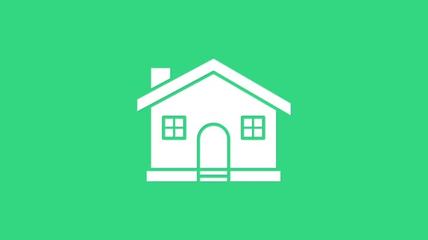 White House icon isolated on green background. Home symbol. 4K Video motion graphic animation
