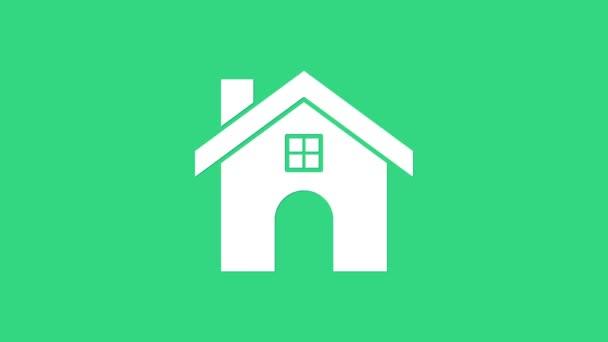 Ikona Bílého domu izolovaná na zeleném pozadí. Domácí symbol. Grafická animace pohybu videa 4K