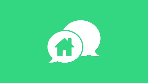 Bílý dům budova v řeči bublina ikona izolované na zeleném pozadí. Koncept nemovitostí. Grafická animace pohybu videa 4K