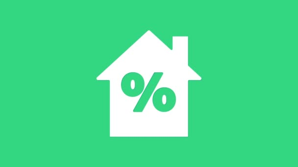Weißes Haus mit Percant Discount Tag Symbol isoliert auf grünem Hintergrund. Haus Prozentsatz Zeichen Preis. Immobilien zu Hause. 4K Video Motion Grafik Animation