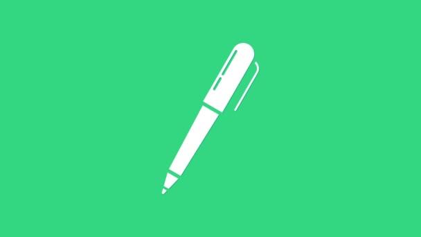 White Pen Symbol isoliert auf grünem Hintergrund. 4K Video Motion Grafik Animation