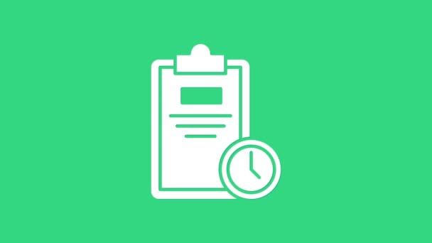 Weißer Prüfungsbogen mit Uhr-Symbol auf grünem Hintergrund. Prüfungsarbeit, Prüfungskonzept oder Umfragekonzept. Schultest oder Prüfung. 4K Video Motion Grafik Animation