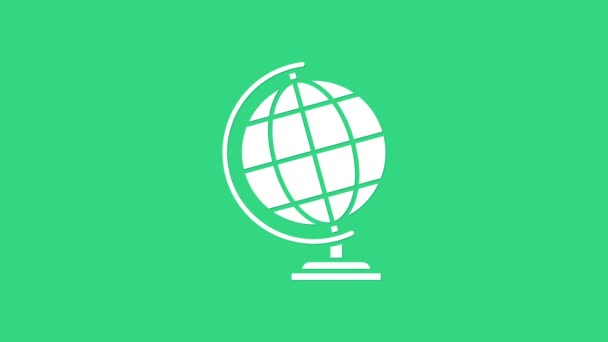 White Earth globe icon isolated on green background. 4K Video motion graphic animation