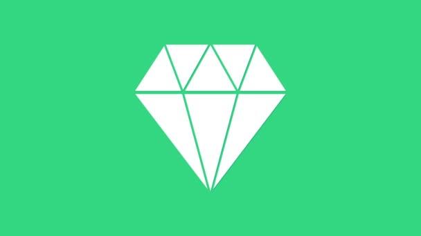 Fehér Gyémánt ikon elszigetelt zöld háttérrel. Ékszer szimbólum. Ékkő. 4K Videó mozgás grafikus animáció