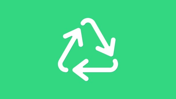 White Recycle symbol icon isolated on green background. Circular arrow icon. Environment recyclable go green. 4K Video motion graphic animation