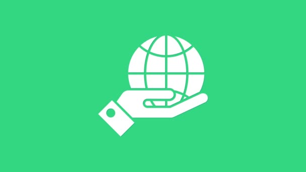 Bílé lidské ruce držící ikonu Země na zeleném pozadí. Uložit pozemský koncept. Grafická animace pohybu videa 4K