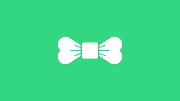 Fehér csokornyakkendő ikon elszigetelt zöld alapon. 4K Videó mozgás grafikus animáció